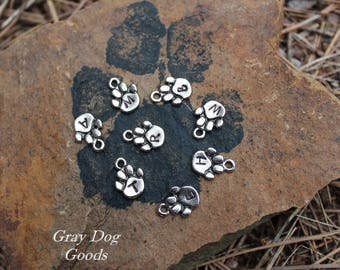 Bracelet add-ons, Hand-Stamped Initial Paws