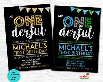 Mr ONEderful Invitation. 1st Birthday Invitation, Boy First Birthday. Mr Wonderful Themed Birthday. Customize Printable Invitation. A27