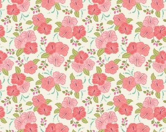 By The HALF YARD - Island Girl by Lewis and Irene, Pattern #A192.2 Peach Hibiscus, Tonal Pink Flowers with Green Leaves on a Creamy White
