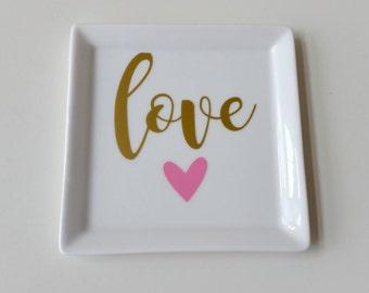 Love Trinket Dish//Valentine Trinket Dish//Valentine Trinket Tray//Preppy Gift//Bridesmaid Gift//Sorority Gift