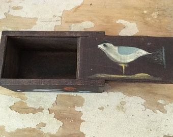 Vintage wood box with handpainted duck and gull, small box with sliding top, keepsake box