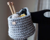 Ready to ship! Sale! Small crocheted hanging basket // featured in the color Grey Marble
