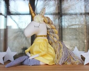 Unicorn doll Handmade Toy Magic Unicorn Rainbow Unicorn Soft Toy Textile Toy Gold Unicorn Unicorn Toy Unicorn textile doll Unicorn birthday