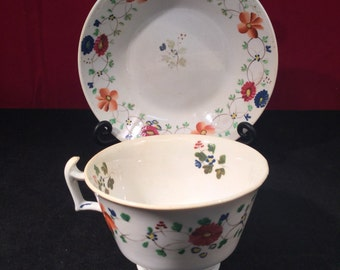 London Shape Tea Cup and Saucer 1790-1810 (unidentified)