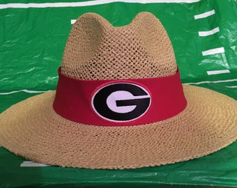 Georgia state Bulldogs straw hat