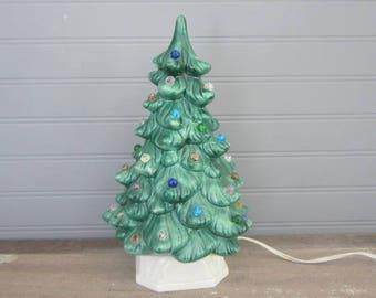 Vintage Handmade Ceramic Christmas Tree With Base Multi Color 1965