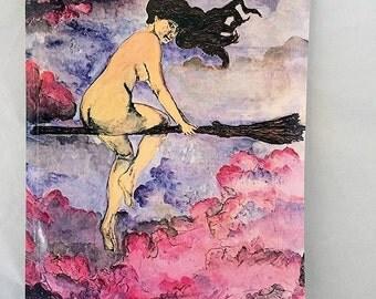 DISCOUNTED Original Art Datebook, 2017 Planner Datebook Calendar,Flying Magical Sexy Witch Pinup,Full Moon Flight Witchcraft Calendar