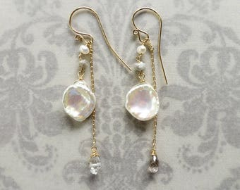 Multiway Earrings with Raw Diamond and Keshi Petal Pearls