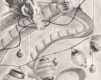 Improvement of luck/ Pencil drawing Dragon /Feng Shui