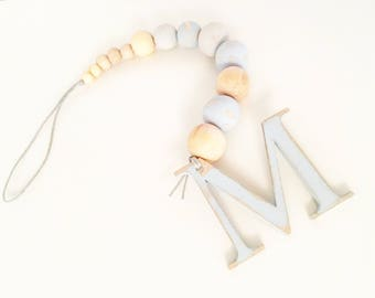 Hanging beaded intial wooden any colour available