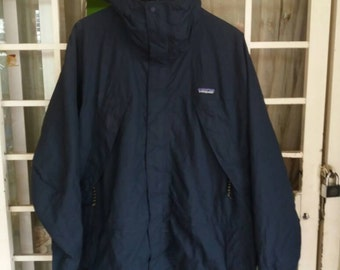 Vintage Patagonia Pullover jacket with hoodie/blue black L/sportwear/hiking/hip hop