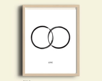 Printable love, instant download, anniversary print, wall art love print, wedding gift idea, modern minimalist black and white couples print