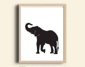 Black and White Elephant print, 8X10, printable nursery, Elephant nursery, woodland nursery, woodland art, black animal art, animal prints