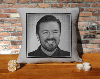 Ricky Gervais Cushion Pillow - Pop Art - Silver Grey - 100% cotton - 16x16 inches