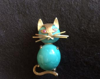 18K and Gemstone Cat Brooch Pin Vintage 1970's Italian Ruby's Turquoise