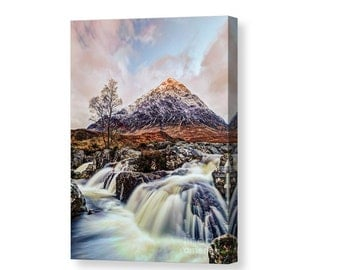 Signed Canvas print of Buachaille Etive Mor mountain monroe scotland highlands present waterfall art photography giclee glencoe snow sunrise