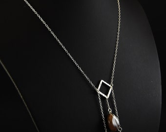 Natural Agate necklace and sterling silver