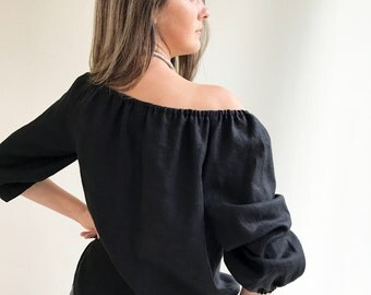 Off the shoulder Top, Boho Linen Blouse, Black Linen Top, Linen Top Boho, Off the Shoulder ruffled top, Black Linen Blouse, boho ethnic