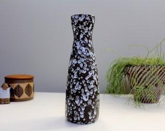 Scheurich 520/28: Vintage West German Ceramic Vase with Black and White Glaze - UK Seller