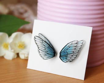 Butterfly, insect wings earrings blue shrink dink plastic