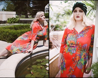 1970's DEADSTOCK Red Floral Loungewear Maxi Duster Robe Dress