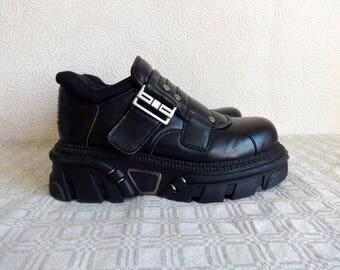 SoWhat Vintage Rock Platforms Faux Leather Black Boots With Metal Elements Moto Grunge Gothic Platform Shoes Unisex Rock Shoes Size EU 42