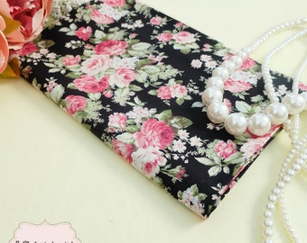 Black Floral Cotton Fabric Black Red Pink Floral Fabric Sewing Fabric Floral Summer Fabric 100% Cotton Fabric For Craft