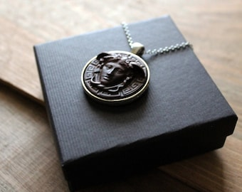Wood Medusa Necklace, Greek Mythology Jewelry, Medusa Cameo Necklace, Greek Key Gorgon Pendant, Greek Art, Medusa Rondanini Sculpture Jewel