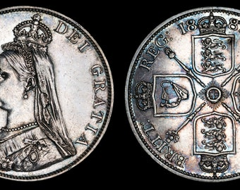 Genuine Vintage Old English Antique Coin Queen Victoria Solid Silver Double Florin 1887, British, Victorian