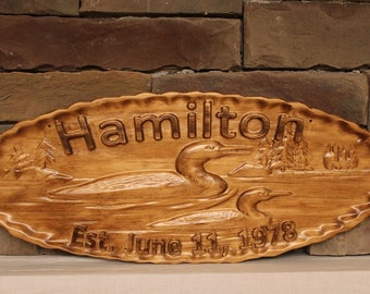 Loon Sign,  Personalized Cabin Sign, Carved Wood Sign, Camper Sign, Lake House Sign, Cottage Sign, Lake House Decor, Gift, Timber Text Gifts