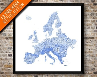 Rivers of Europe map   High resolution digital Europe art   Europe poster   Europe river map   Wall art   Printable map   Unique gift idea