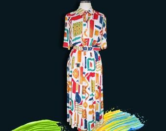 Vintage Multicolour Long Dress • 80s Retro Secretary Dress • Artistic Brush Stroke Print • Colourful Pleated Day Dress • S Small M Medium