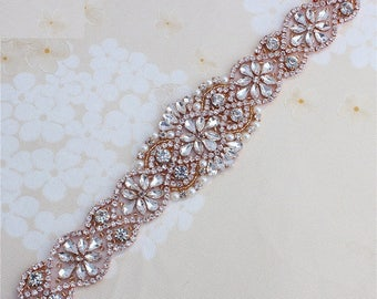 Rose Gold Rhinestone Crystal Diamante Belt