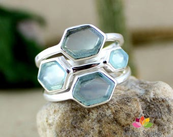 aqua chalcedony ring, chalcedony silver ring, hexagon gemstone, solid Sterling silver, fancycut stone, fashionable jewelry, all Ring Size