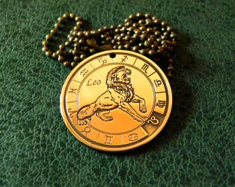 Zodiac Sign Leo Amulet, Leo Necklace, Lion Necklace, Astrology Necklace