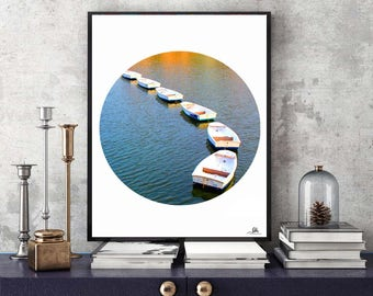 Boats Circle Prints, Set of Two, Boat Printable Wall Art Photography, Summer France Photo, Bound Boats in Water, Signed, Nautical Wall Decor
