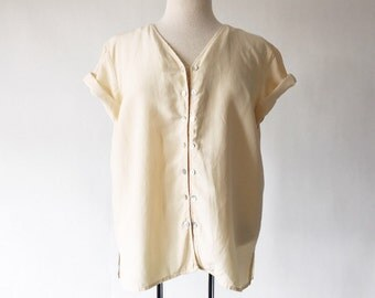 Vintage Pale Yellow 90s Silk Bouse - Custard Yellow Short Sleeve Button Front Top