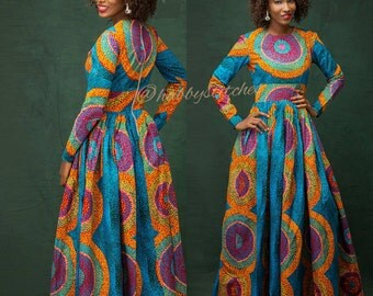 Sandra Maxi dress with pockets, African dress, Long African dress, Maxi African dress, Ankara dress, African wax fabric, African fabric