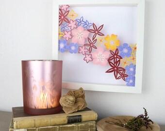 Coloured Flower Cascade - Handmade Papercut