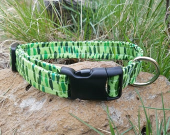 Designer Fabric Multicolored Green Pattern Dog Collar