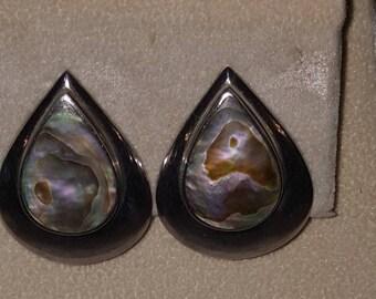 Vintage sterling silver abalone teardrop clip on earrings hallmarked