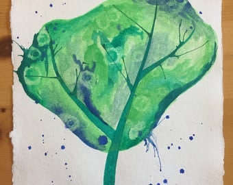 Blue and Green Tree Watercolor Painting