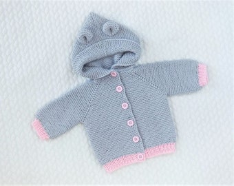 Knitted baby jacket, cardigan, 100% merino wool. Baby shower gift. MADE TO ORDER!