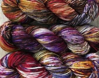 Arizona Rainbow - DK or Worsted Weight Hand Dyed Super Speckled Yarn, Superwash Merino Nylon 4-Ply, WIPyarns 2017 Arizona Rainbow Collection