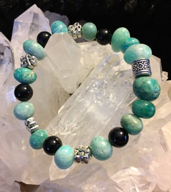 Amazonite and Obsidian Unique Chunky Bracelet