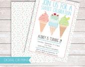 Ice Cream Invitation, Sweet Celebration Invitation, Printed Invitation, Printable Invitation, Picnic Invite, Summer Invitation, Tween Invite