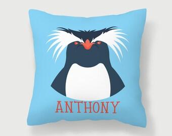 Penguin Pillow, Nursery Decor, Animal Pillow, Custom Throw Pillow, Blue Pillow, Bed Pillow, Playroom Pillow, Kids Room Decor, Rooster