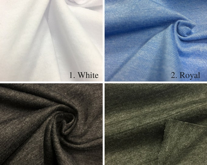 Poly Cotton Jersey Knit Fabric By the Yard (Wholesale Price Available By The Bolt) USA Made Premium Quality - 2830PC - 1 Yard