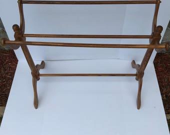 Quilt rack, Vintage OAK Blanket rack, Towel Bars, Display
