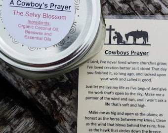 Cowboy's Prayer Organic Coconut Oil Candle and Poem, All Natural, Nontoxic, Paraffin, Petroleum, Chemical and Dye Free, 8oz Mason Jar